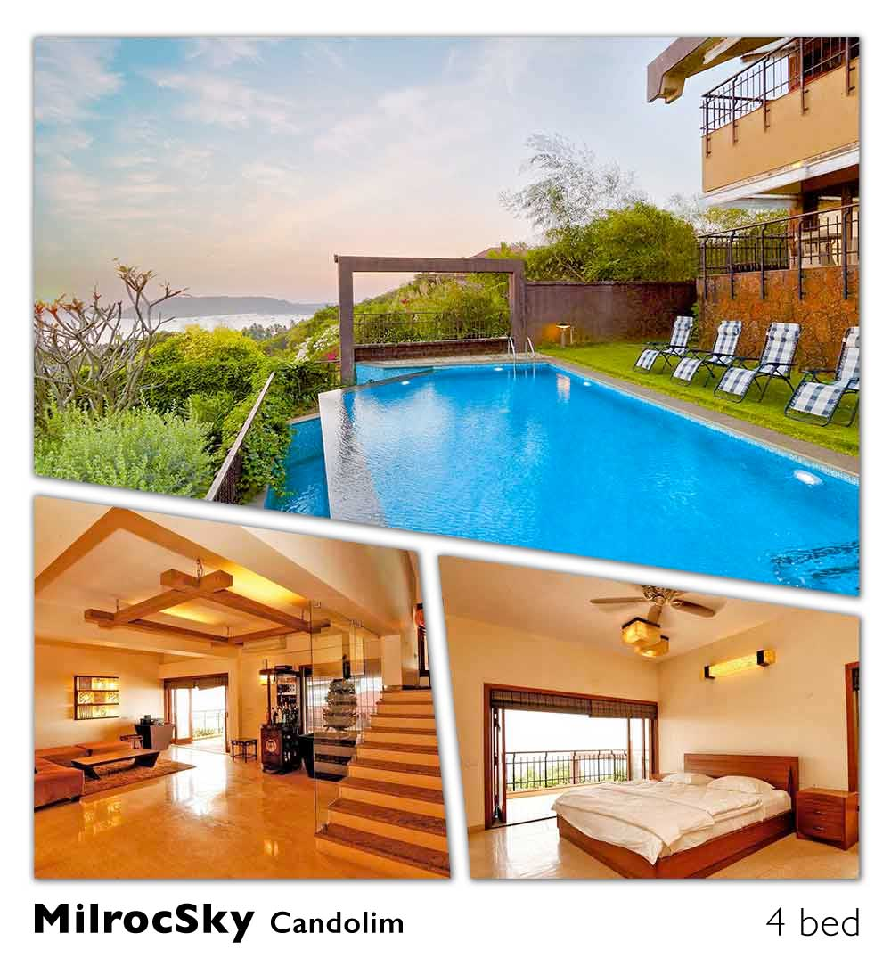 sea facing ocean front beach pool candolim villa rent in goa