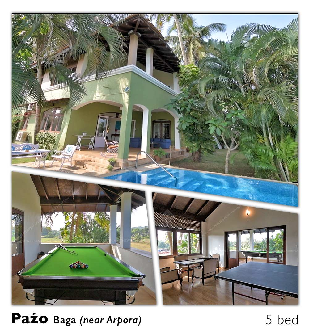 luxury villa near baga pool rent
